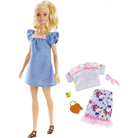 Barbie Fashionistas Doll with Blonde Partial Updo Wearing Denim Dress