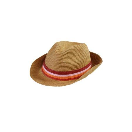 August Hat Tan Pink Stripe Band Fedora Hat OS](Pink Fedora)