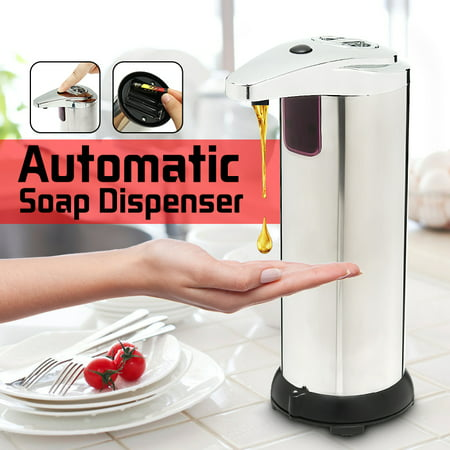 TAPCET Automatic Soap Dispenser IR Sensor Touchless Stainless Steel Hand Soap Dispenser Soap Dispenser Waterproof Base for Kitchen Bathroom,