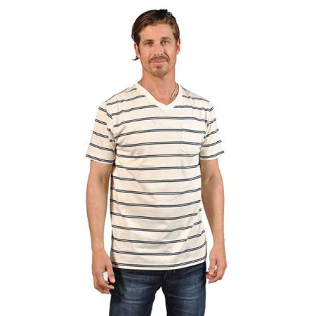 V-Neck Cream Navy Double Stripes Hommes Chemises
