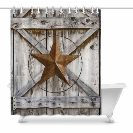 MKHERT Western Texas Star on Rustic Old Barn Wood Home Decor Waterproof Polyester Bathroom Shower Curtain Bath 60x72 inch - Old Western Decor