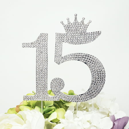 15 Quinceanera Rhinestone Crown Monogram Cake Topper Sweet 15th Birthday Crystal