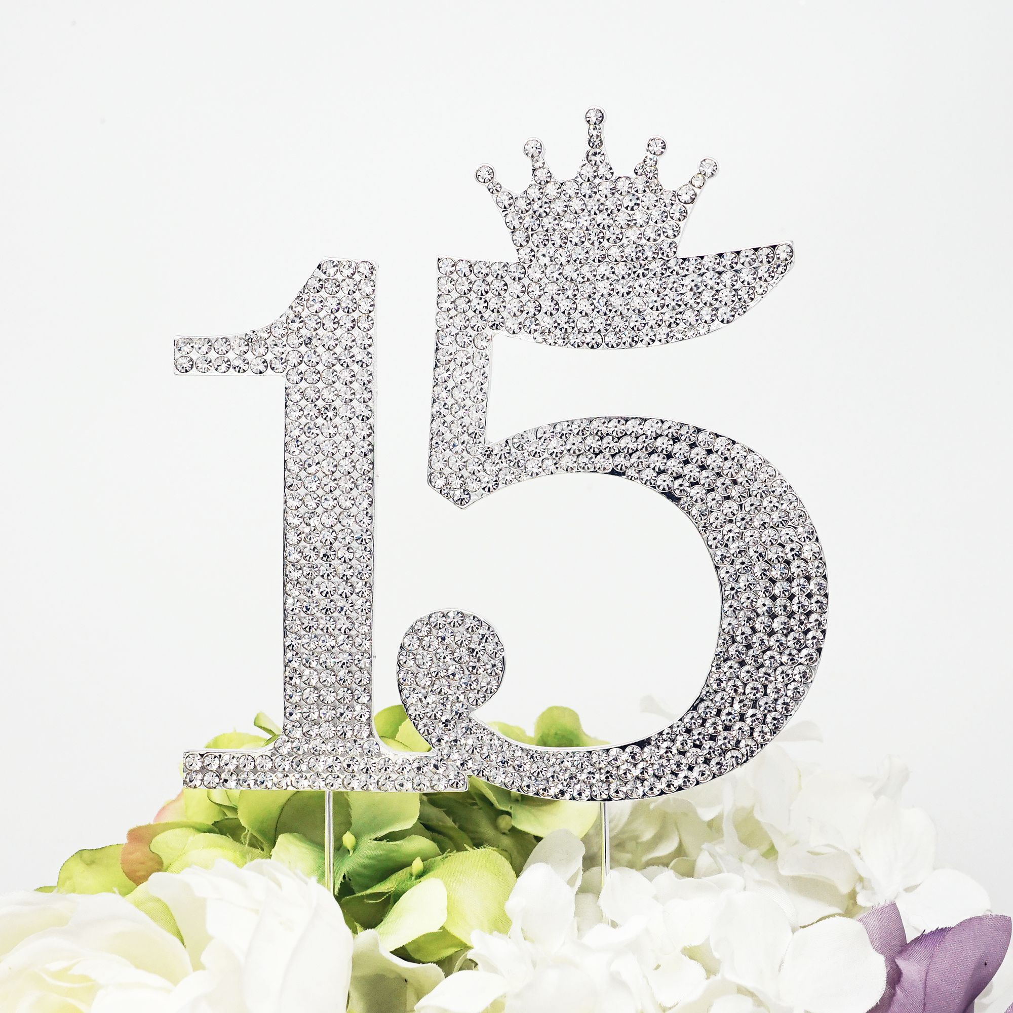 15 Quinceanera Rhinestone Crown Monogram Cake Topper, Sweet 15th Birthday Crystal Topper