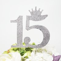 Product Image 15 Quinceanera Rhinestone Crown Monogram Cake Topper Sweet 15th Birthday Crystal