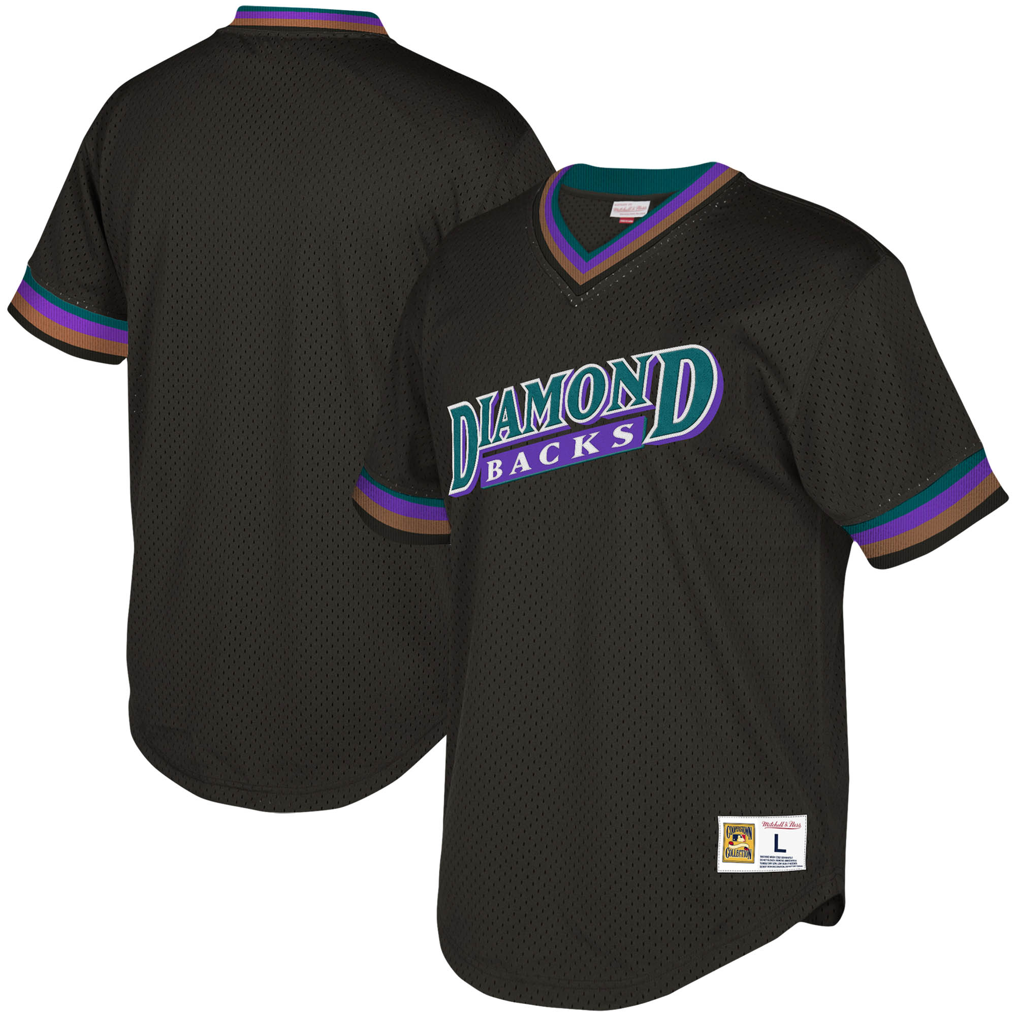 Arizona Diamondbacks Mitchell & Ness Youth Cooperstown Collection Mesh Wordmark V-Neck Jersey - Black