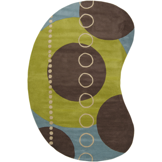 8' x 10' Eclectic Immersion Moss Green and Blue Kidney Wool Area Throw Rug