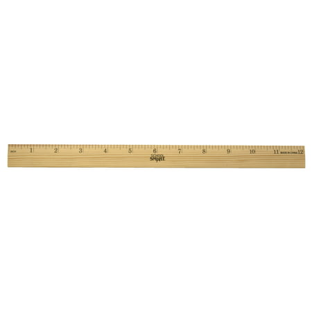 School Smart Single Beveled Plain Edge Wood Scale Ruler, 12 in L X 7/8 in W X 5/32 in Thickness, 1/8 in Scaled, Clear Lacquer Double Beveled Edge Ruler