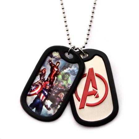 The Avengers Graphic Logo Front with Rubber Silencer Double Dog Tag Pendant Necklace