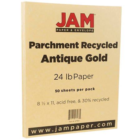 Gold Parchment Paper - JAM Paper Parchment Paper, 8.5 x 11, 24 lb Antique Gold Recycled, 50 Sheets/Pack