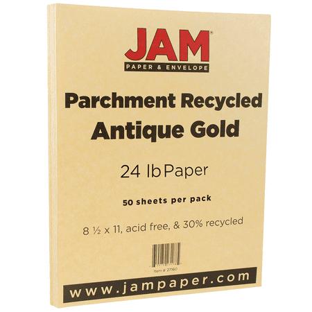 JAM Paper Parchment Paper, 8.5 x 11, 24 lb Antique Gold Recycled, 50 Sheets/Pack