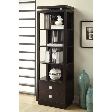 Bowery Hill Wall Units 4 Shelf Media Tower in Cappuccino Finish