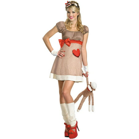 Ms. Sock Monkey Adult Halloween Costume](Baby Monkey Halloween Costumes)