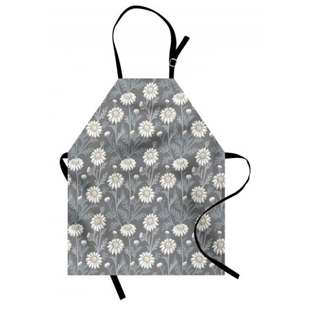 Floral Apron Cottage Daisy Petals Field Summer Gardening Theme Chamomile Flourish, Unisex Kitchen Bib Apron with Adjustable Neck for Cooking Baking Gardening, Grey Coconut Sage Green, by Ambesonne