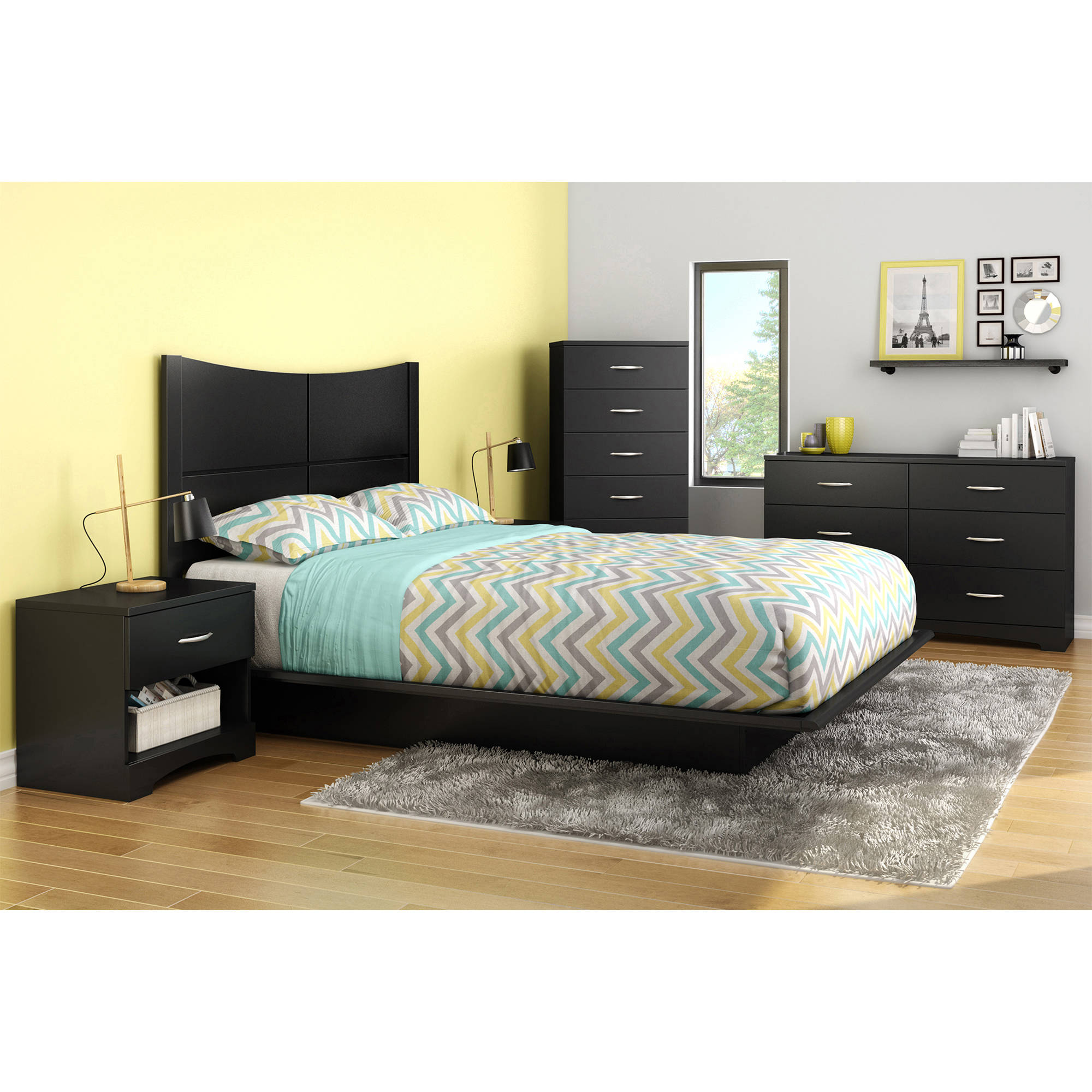 Soho Bedroom Furniture South Shore Soho 1 Drawer Nightstand Multiple Finishes Walmartcom