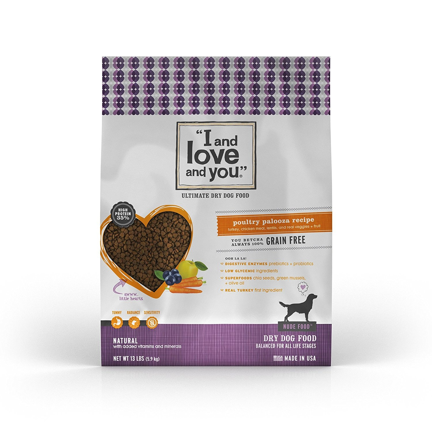 I and Love and You Nude Food Dry Dog Food, Grain-Free Poultry Palooza, 13 Lb