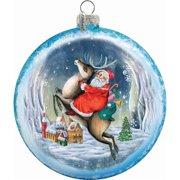 G.Debrekht 744-014 Holiday Splendor Glass Reindeer Santa Medalion 4.5 in. -Glass Ornament