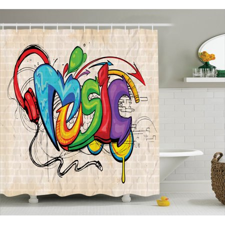 Shower Curtain Set Illustration Of Graffiti Style Music Lettering Headphones Hip Hop Rhythm Tempo Hipster Concept Bathroom Decor Multi By Ambesonne