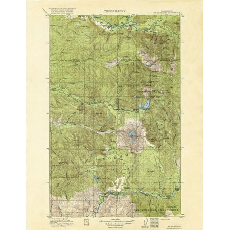 Old Topographical Map Print   Mt St Helens Washington Quad   Usgs 1919   23 X 30 44