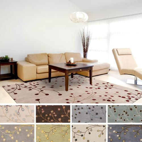 Hand Tufted Floral Square Wool Area Rug (6u0027 X ...