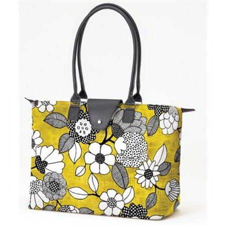 Joann Marrie Designs NF3YBF Long Handle Fold-Up Bag Yellow and Black Floral, Pack of 2