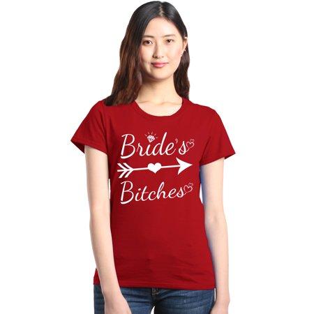 Shop4Ever Women's Bride's Bitches Bridesmaid Bridal Wedding Graphic T-Shirt for $<!---->