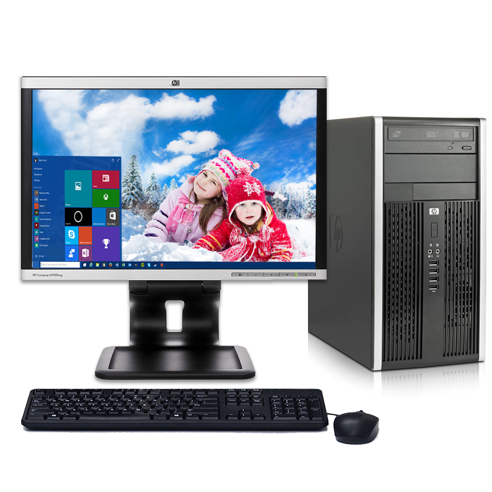 "HP Elite 6000 Tower Desktop PC System Windows 10 Core 2 Duo Processor 4GB Ram 80GB Hard Drive DVDRW Wifi with a 17"" LCD-Refurbished Computer with Extended Care 3 Year Warranty"