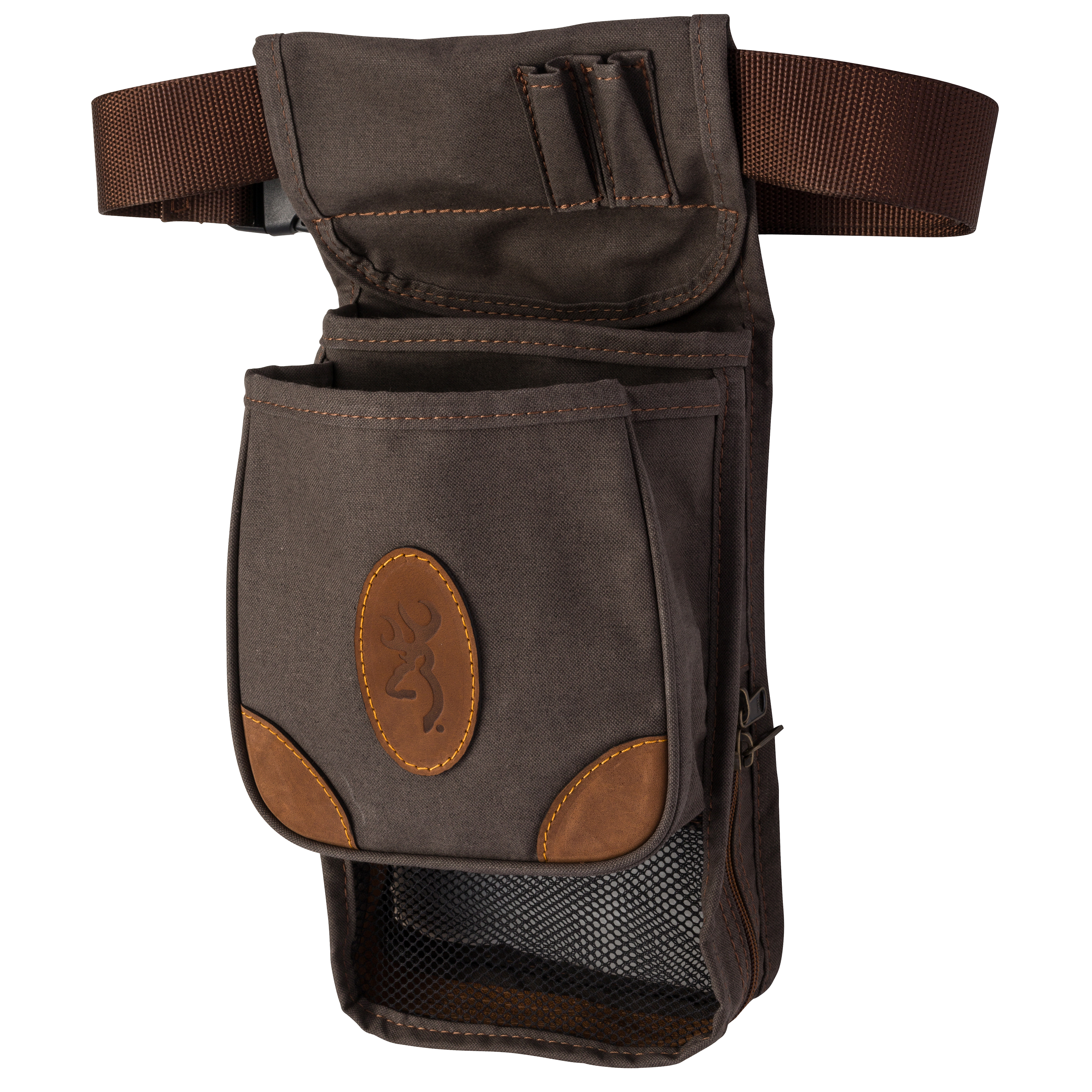 Browning Lona Canvas/Leather Large Deluxe Shell Pouch, Flint/Brown