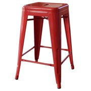 AmeriHome Loft Red 24 Inch Metal Bar Stool 4 Piece by Buffalo Corp