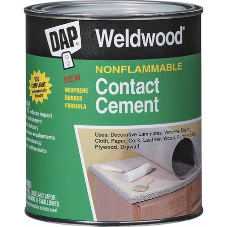 DAP 4/Pack 1 Gallon Weldwood Nonflammable Contact Cement DAP 4/Pack 1 Gallon Weldwood Nonflammable Contact Cement    Details:      High solids polychloroprene, waterborne contact adhesive that meets the stringent requirements of the professional user. Complies with all current VOC requirements. Dries in 30-40 minutes, allowing for extra bonding time. Water resistant when dry. Exceeds industry performance requirements. Low odor. Easy water clean-up.