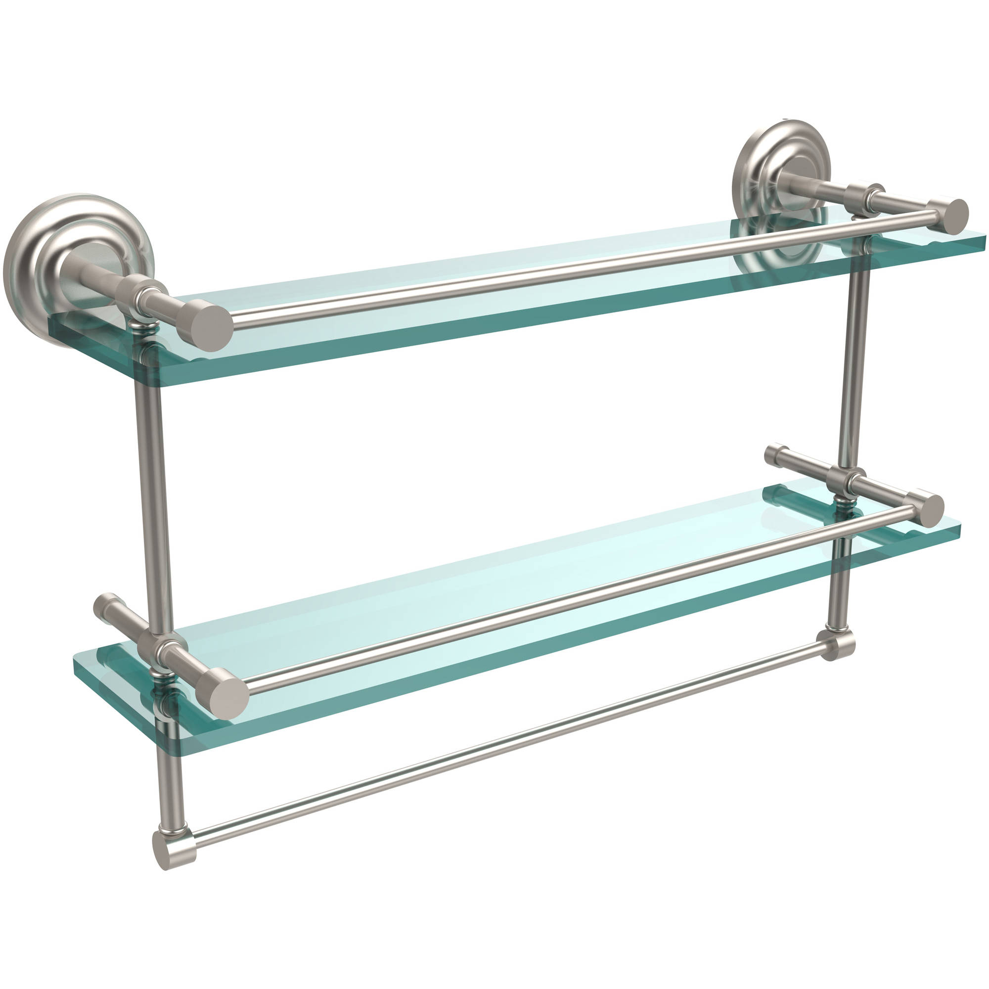 "22"" Gallery Double Glass Shelf with Towel Bar (Build to Order)"