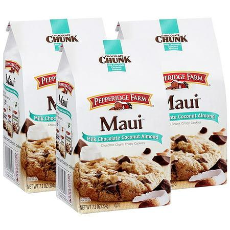 (3 Pack) Pepperidge Farm Maui Crispy Milk Chocolate Coconut Almond Cookies, 7.2 oz. Bag