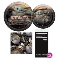 Star Wars The Mandalorian Birthday Party Tableware Kit for 16 Guests - Baby Yoda Party Supplies