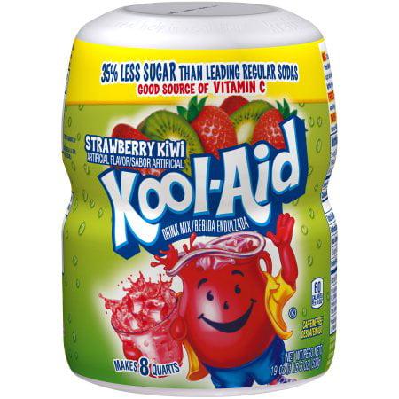 (6 Pack) Kool-Aid Sugar-Sweetened Strawberry Kiwi Powdered Soft Drink, 4 - 19 oz Jars - Cool Aid Man