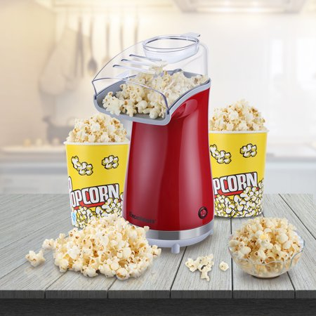 Excelvan Popcorn Popper Makes 16 Cups of Popcorn, Includes Measuring Cup and Removable Lid, Red ()