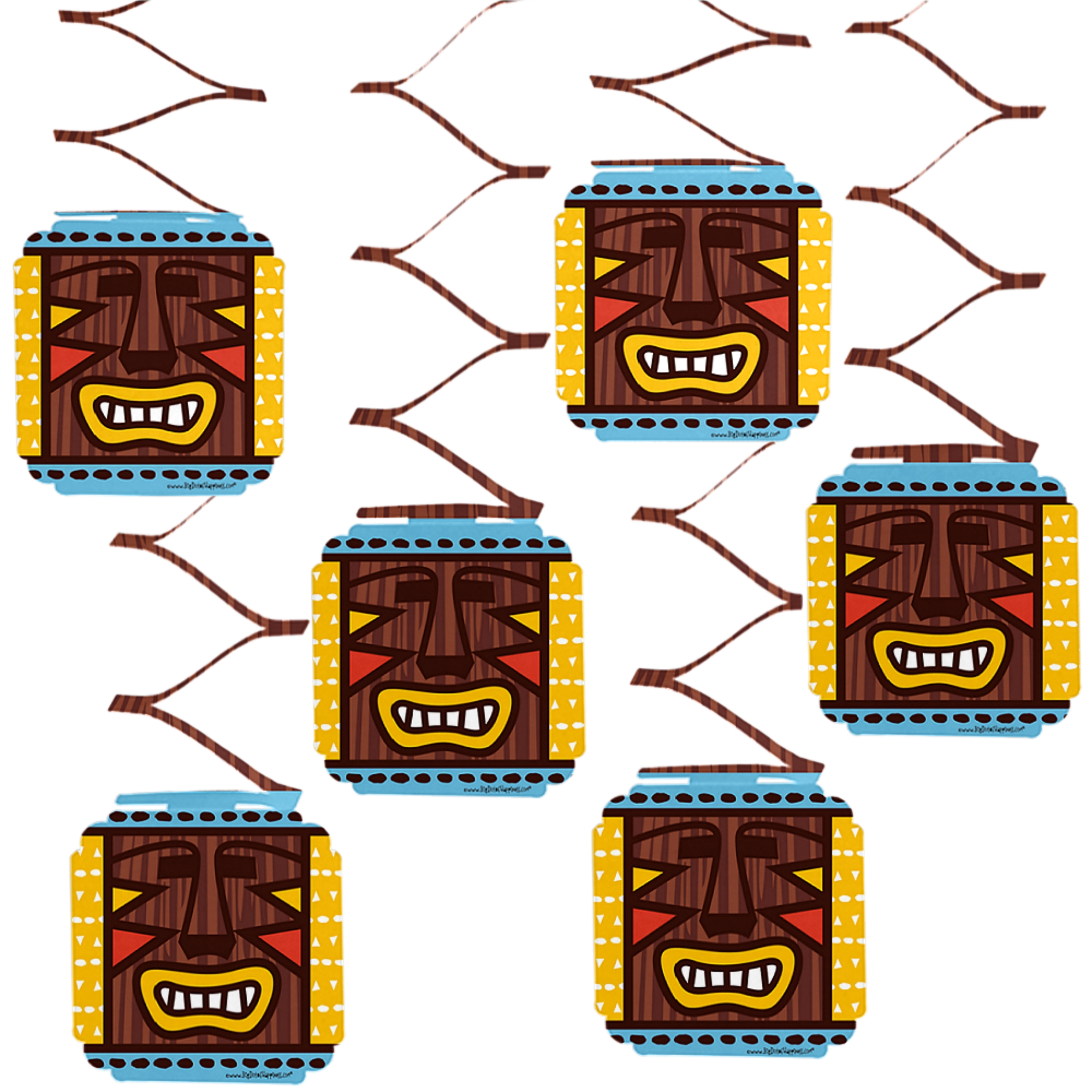 Tiki Luau - Tropical Hawaiian Summer Party Hanging Decorations - 6 Count