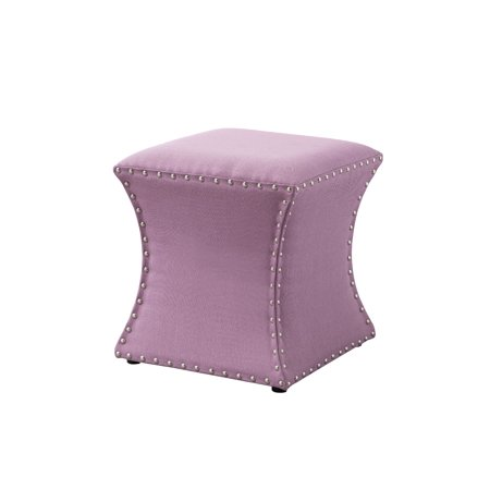 Tremendous Rylen 15 Square Ottoman Footstool Purple Fabric Transitional Nailhead Trim 4 Plastic Legs Dailytribune Chair Design For Home Dailytribuneorg