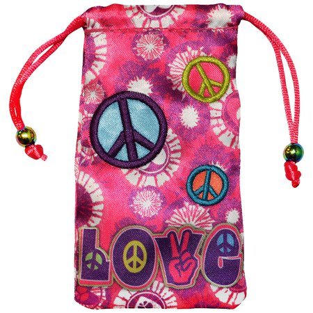 Universal Designer Handy Drawstring Pouch Jewelry Wedding Birthday Party Baby Shower Favor Gift Bags 4.5 x 2.75 inch - Peace & Love - Party Universe