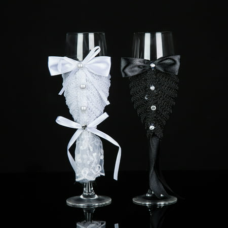 Groom And Bride Glasses Handmade Wedding Champagne Flutes Swarovski Crystal Toast Glasses - Wedding Gift Idea