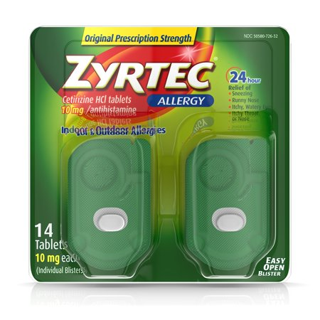 Zyrtec 24 Hour Allergy Relief Tablets with 10 mg Cetirizine HCl, 14 (Allergy Caplets)