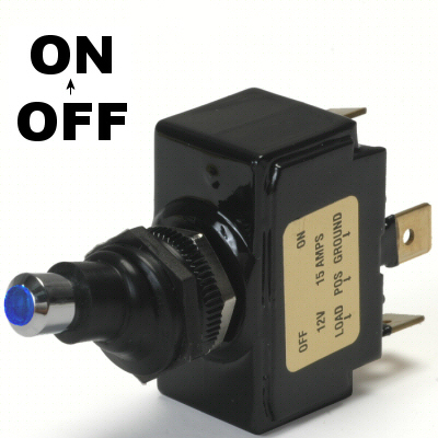 On 20 Amp Sand Sealed Toggle Switch With Tab Terminals On Off