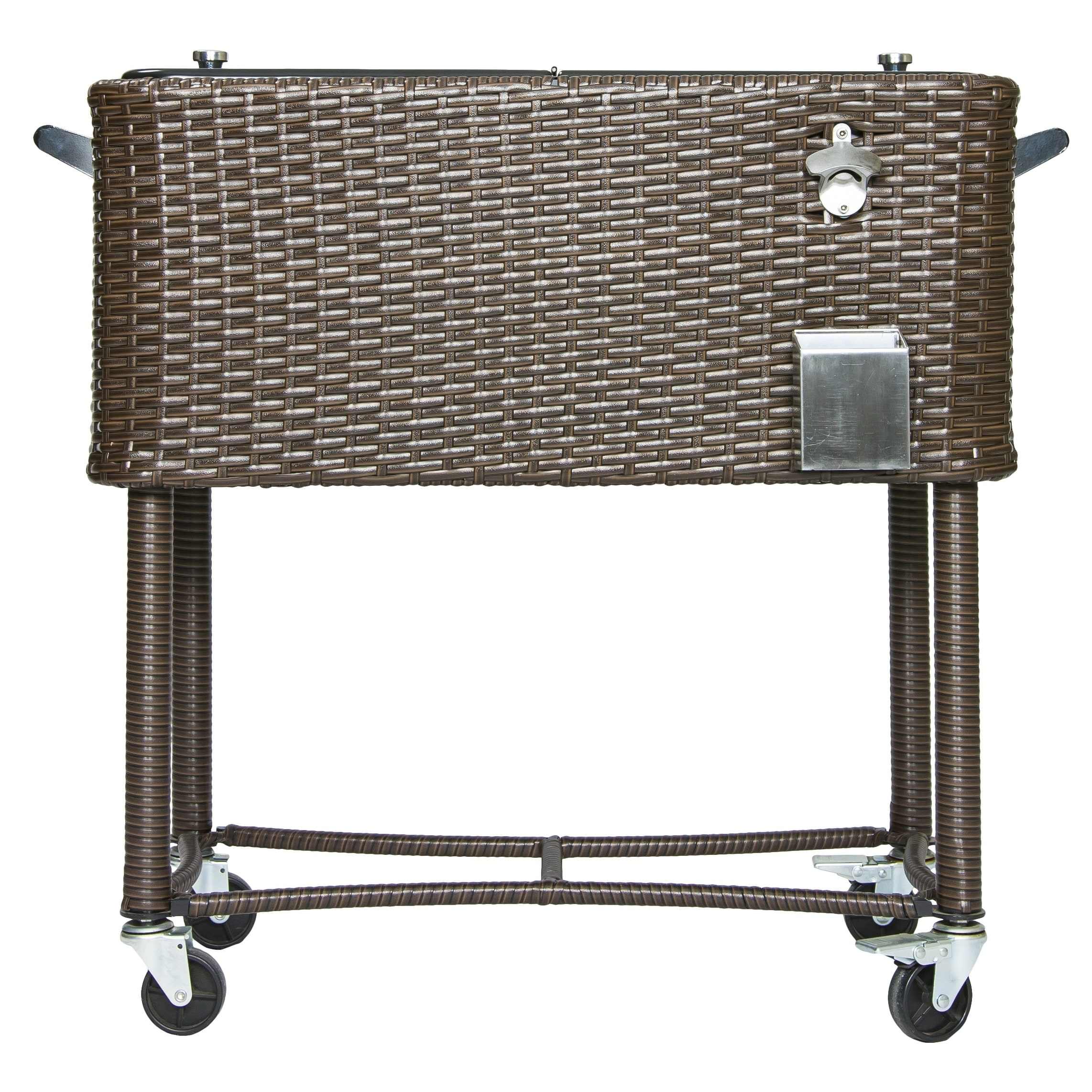 Permasteel 80 qt. Wicker Patio Rolling Cooler