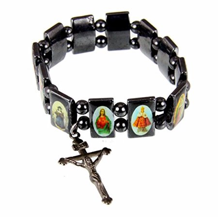 Hematite Stretch Bracelet Saints Jesus Angels Christian Religious (Jesus Saint Bracelets)