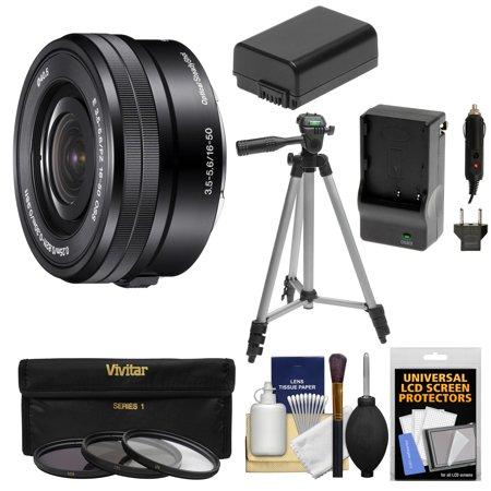 Sony Alpha E-Mount 16-50mm f/3.5-5.6 OSS PZ Zoom Lens with 3 Filters + Tripod + NP-FW50 Battery & Charger Kit for A7, A7R, A7S Mark II, A5100, A6000,
