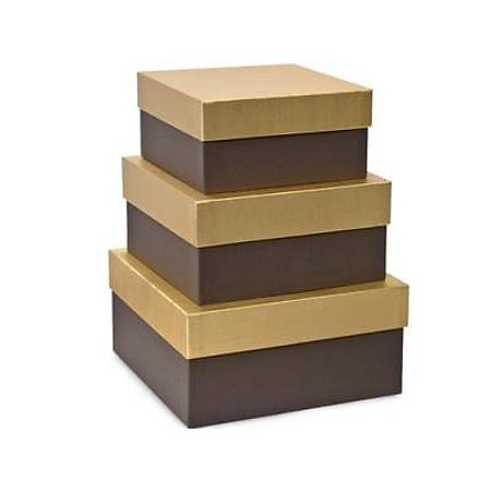 1 Unit Chocolate Embossed Nested Boxes Large Square Gift Boxes Unit pack - 1 Nest Box