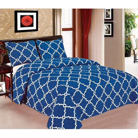 Galaxy Bedspread 3-Piece Quilt Set Soft Quilted Bedding New ArrIval SALE! ( Full Navy Blue ) (Halloween Quilt Kits Sale)