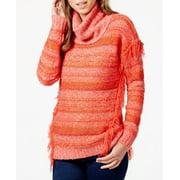 Kensie Women's Fringed Multi-Yarn Cowl Neck Sweater Size M