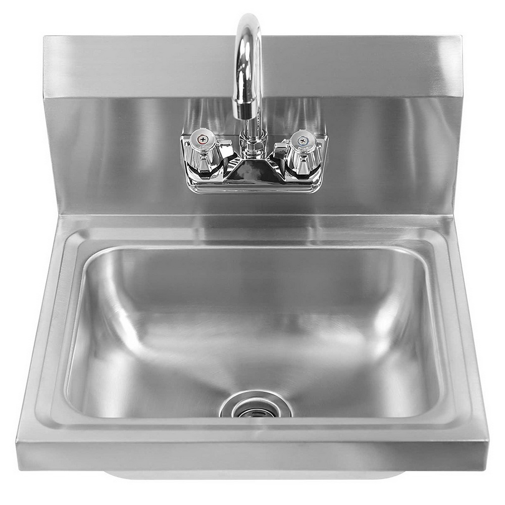 """Ktaxon 14"""" x 10"""" x 6"""" Commercial Stainless Steel Sink, Heavy Duty Wall Mount Hand Washing Single Sink Bowl, for Kitchen Laundry Farm, NSF certified"""
