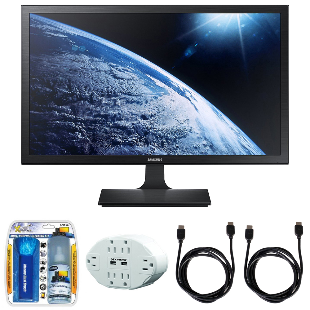 "Samsung SE310 Series 27"" Screen LED-Lit Monitor (S27E310H) with 2x General Brand HDMI to HDMI Cable 6', Xtreme 6 Outlet Wall Tap w/ 2 USB Ports White & Xtreme Performance TV/LCD Screen Cleaning Kit"