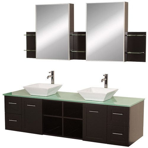 Wyndham Collection Avara 72 inch Double Bathroom Vanity in Espresso, Green Glass Countertop, Pyra White Porcelain Sinks, and Medicine Cabinets