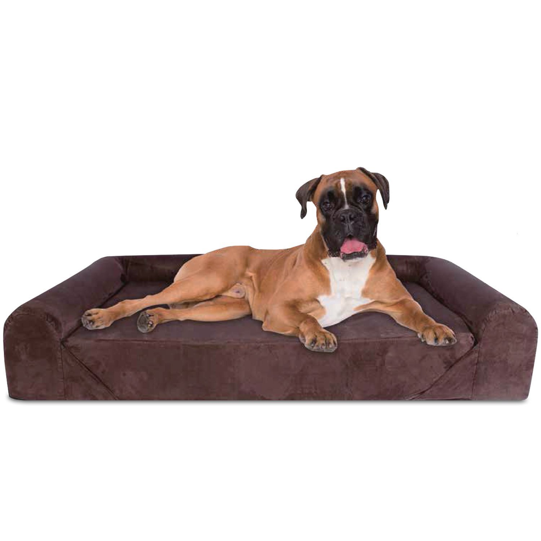 Deluxe Orthopedic Memory Foam Sofa Lounge Dog Bed - JUMBO XL - Brown